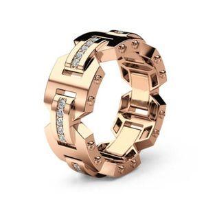 MEN'S 14KT ROSE GOLD WHITE SAPPHIRE RING